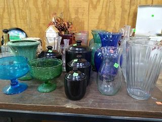 Assorted Glass Vases & Spice Jars