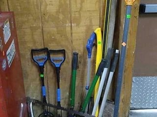 Assorted Long Handle Tools, Jack Stands