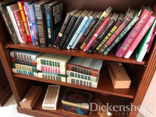 Assorted books, decorative items