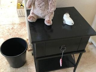 Single drawer nightstand in upstairs bedroom along