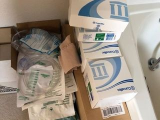 Ostomy supplies in upstairs bedroom