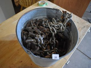 Galvanized Pail Of Chains