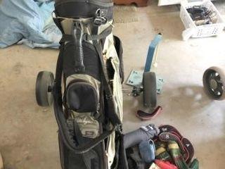 Push cart, golf bag, and full club set