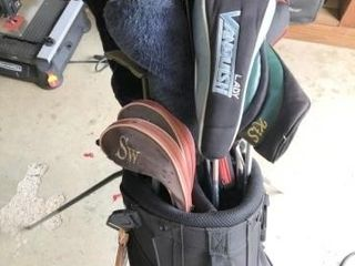 Gold Bag with Assorted Clubs