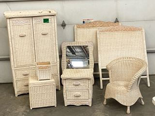 Pier-1-Imports Compete Wicker Furniture Twin Bedroom Set
