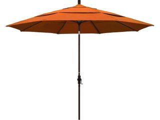California Umbrella 11  Round Aluminum Market Umbrella  Crank lift  Collar Tilt  Bronze Pole  Pacifica Tuscan