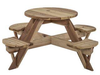 Jack   June Circular Redwood Picnic Table