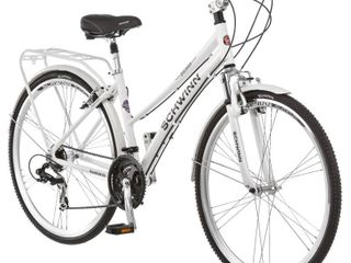 Schwinn Discover Hybrid Bike for Men and Women  21 Speed  28 inch Wheels  16 inch Small Frame  White