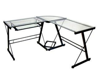 Walker Edison   Modern l Shaped Tempered Glass Computer Desk   Clear Black