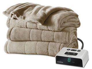 Sunbeam Electric Heated Microplush Channeled Blanket  Twin  Beige