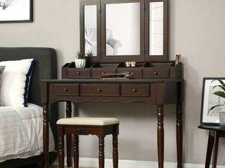VASAGlE Vanity Table   MIRROR IS BROKEN  MISSING MIDDlE CUBBIES  MISSING STOOl
