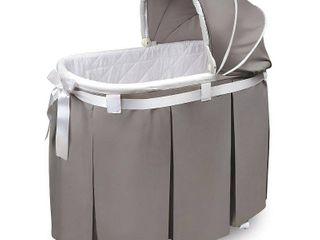 Badger Basket Wishes Oval Bassinet  Full length Skirt  White Bedding