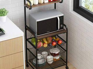 4 Tier Metal Kitchen Bakers Rack Rolling Utility Cart Spice Rack Microwave Oven Stand Shelf Utensil Holder Drawer Organizer Fruit Vegetable Storage Basket