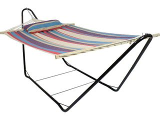 Sunnydaze Cotton Fabric Hammock with 10 Foot Steel Stand  Indoor Outdoor  Heavy Duty 300 Pound Capacity  Wildberry