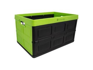 lotus USA Foldable Stackable 64 Quart Hardside Storage Crate  Green   Black