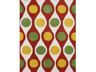 ZnZ Rugs Gallery 28065 5x8 Hand Made New Zealand Blend Wool Hand Tufted Rug  5 Inch by 8 Feet  Cherry Tomato Herbal Green Daffodil