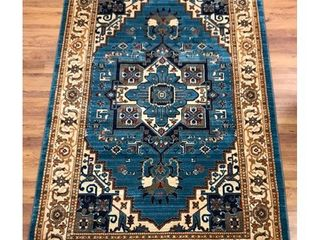 Antep Rugs ORIENTAl Collection TEBRIZ Oriental Polypropylene Area Rug  BlUE IVORY   4 1  X 6