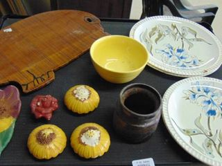 pig wooden cutting board   vintage flower and muffin items   Salem china made in usa