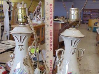 2 floral lamps