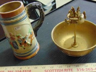 Beer stein   gold bowl w candle holder