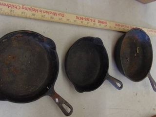 3 cast iron skillets