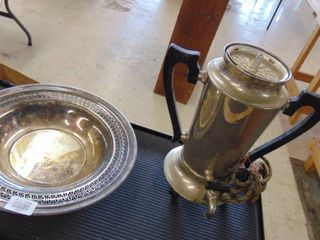 old percolator coffee maker and sliver tray