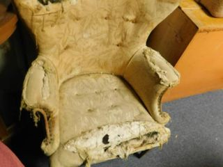 very old wing back upholstered chair   needs recovered