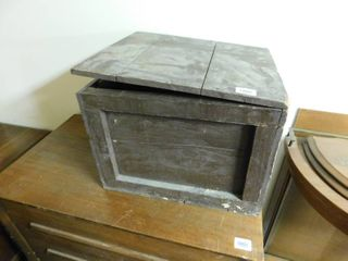 old wooden box with hinged lid