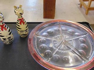 glass veggie tray   2 Zebra nesting dolls