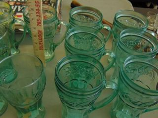green glass Coca Cola mugs