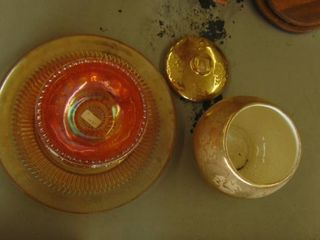 carnival glass and gold leaf bowl w lid
