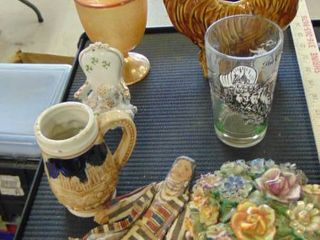 lot   beer stein   Rooster planter   flower trinket box   candy dish and more