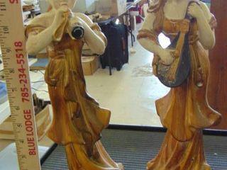 2 Oriental musician statues