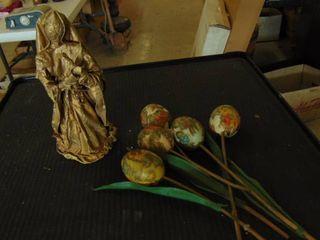 religious statue   enamel flowers