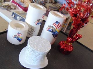 milk glass top hat   flag angel lights