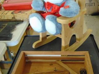 wood crate   wood rocker   plush bunny