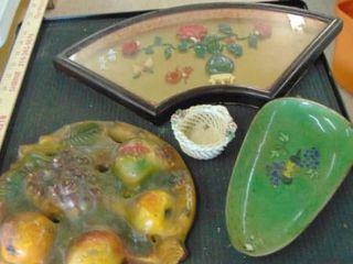 Asian art work   trinket tray and more