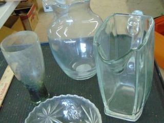 heavy glass pitcher   candy dish   vase