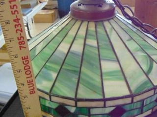 green Tiffany hanging lamp