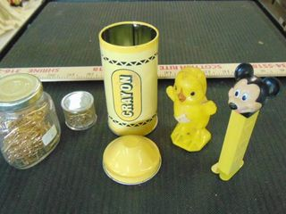 Mickey Mouse pez   old chick toy   gold clips