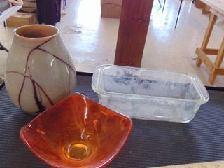vase   glass loaf pan   candy dish