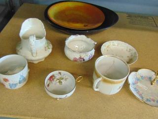 vintage tea cups   pitchers   plates
