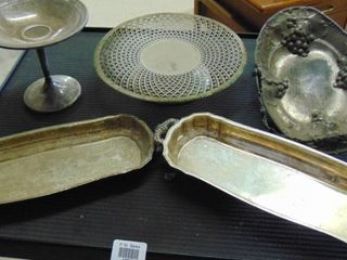 Silver plated items   pie stand   serving boats and more