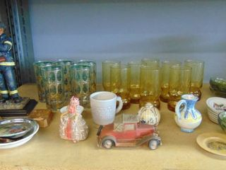huge lot   vases   fireman statue   saucers   pitchers
