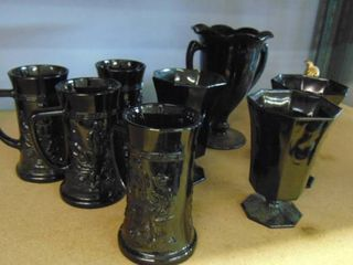 big black coffee mugs   black glasses   pitcher