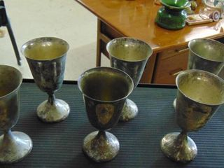 6   Silver goblets   6 1 2  tall