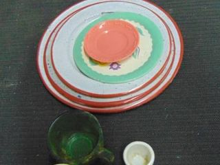 old plates and metal painted cup