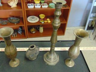 brass candle stick and vases