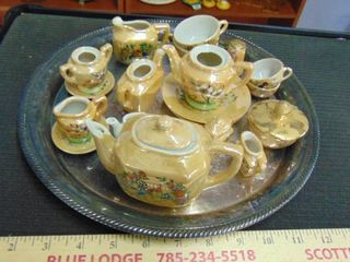 lot of vintage mini tea pots   cups and tray