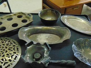 Silver trays   platters and bowl